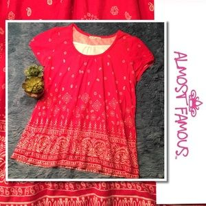 ALMOST FAMOUS Red Bandana Shirt Paisley Top XL